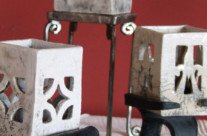 Candlestick cube with wrought iron foot