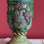Art nouveau cup with grapes