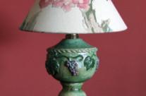 Art nouveau desktop lamp with grapes