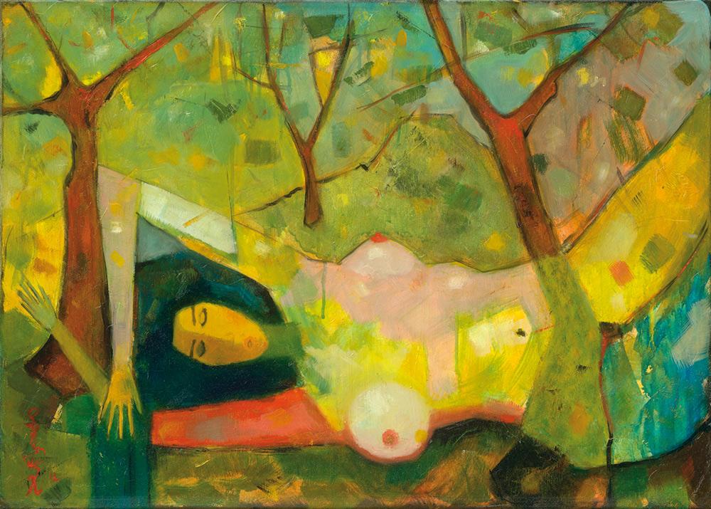 Girl among trees