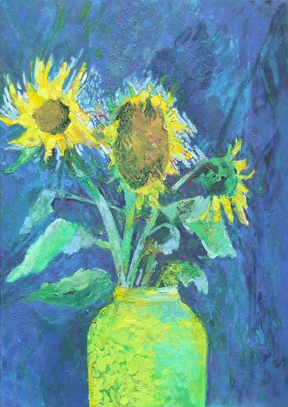 Sunflower on blue