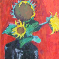 Sunflower on red