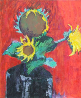 Sunflower on red